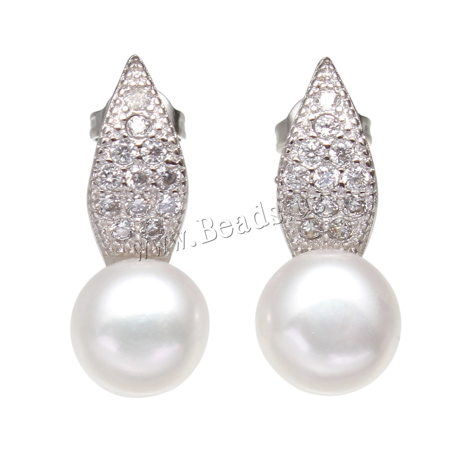 Buy Freshwater Pearl Earrings Brass Button platinum color plated woman & rhinestone white 7-8mmuff0c8x24mm Sold Pair