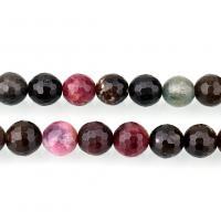 Turmalin Perle, rund, natürliche & verschiedene Größen vorhanden & facettierte, Bohrung:ca. 1mm, verkauft per ca. 15.5 ZollInch Strang