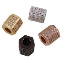 Zirkonia Micro Pave Messing Europa Bead, Sechseck, plattiert, Micro pave Zirkonia, keine, frei von Nickel, Blei & Kadmium, 9x8mm, Bohrung:ca. 4mm, verkauft von PC
