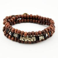 Holz Halskette, mit Zinklegierung, unisex & auch als Wrap Armband getragen & einstellbar, 6mm, verkauft per ca. 22 ZollInch Strang