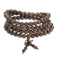 108 Mala Perlen, Holz, mit Nylon, buddhistischer Schmuck & unisex & 5-litzig, 8mm, 108PCs/Strang, verkauft per ca. 14.5 ZollInch Strang