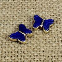 Imitation Cloisonne Zink Legierung Perlen, Zinklegierung, Schmetterling, goldfarben plattiert, Emaille, frei von Blei & Kadmium, 11x8mm, Bohrung:ca. 1.5mm, 10PCs/Tasche, verkauft von Tasche