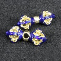 Imitation Cloisonne Zink Legierung Perlen, Zinklegierung, goldfarben plattiert, Emaille, blau, frei von Blei & Kadmium, 17x10mm, Bohrung:ca. 2mm, 10PCs/Tasche, verkauft von Tasche