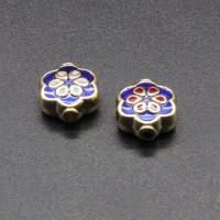 Imitation Cloisonne Zink Legierung Perlen, Zinklegierung, Blume, goldfarben plattiert, Emaille, keine, frei von Blei & Kadmium, 10x8mm, Bohrung:ca. 1.5mm, 10PCs/Tasche, verkauft von Tasche