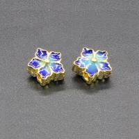 Imitation Cloisonne Zink Legierung Perlen, Zinklegierung, Blume, goldfarben plattiert, Emaille, frei von Blei & Kadmium, 10x7mm, Bohrung:ca. 1.5mm, 10PCs/Tasche, verkauft von Tasche