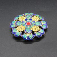 Blume Zinklegierung Schmuckverbinder, goldfarben plattiert, Imitation Cloisonne & 3/3-Schleife & Emaille, frei von Blei & Kadmium, 43mm, Bohrung:ca. 1.5mm, 10PCs/Tasche, verkauft von Tasche