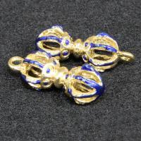 Zinklegierung hohle Anhänger, goldfarben plattiert, Imitation Cloisonne & Emaille, blau, frei von Blei & Kadmium, 26x10mm, Bohrung:ca. 1.5mm, 10PCs/Tasche, verkauft von Tasche