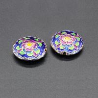 Imitation Cloisonne Zink Legierung Perlen, Zinklegierung, flache Runde, goldfarben plattiert, Emaille, frei von Blei & Kadmium, 18mm, Bohrung:ca. 1.5mm, 10PCs/Tasche, verkauft von Tasche