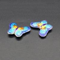 Imitation Cloisonne Zink Legierung Perlen, Zinklegierung, Schmetterling, plattiert, Emaille, keine, frei von Blei & Kadmium, 22x17mm, Bohrung:ca. 1.5mm, 10PCs/Tasche, verkauft von Tasche