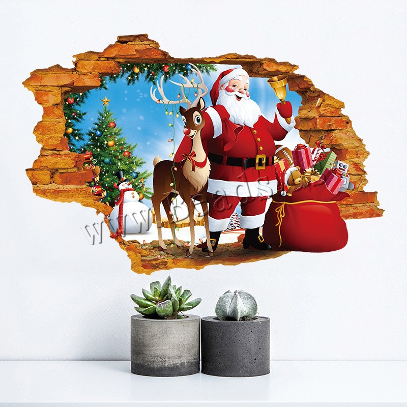 Buy Wall Stickers & Decals PVC Plastic adhesive & Christmas jewelry & 3D & waterproof 500x700mm 10Sets/Lot Sold Lot