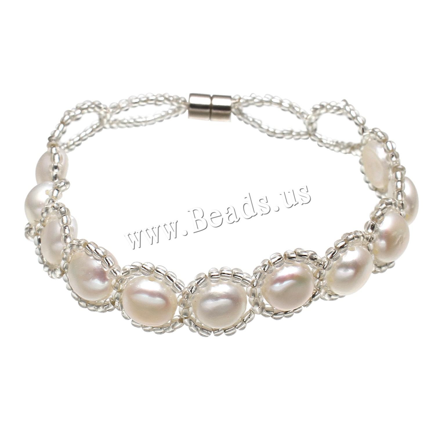 Buy Freshwater Cultured Pearl Bracelet Freshwater Pearl Glass Seed Beads woman white 8-9mm Sold Per Approx 7.5 Inch Strand