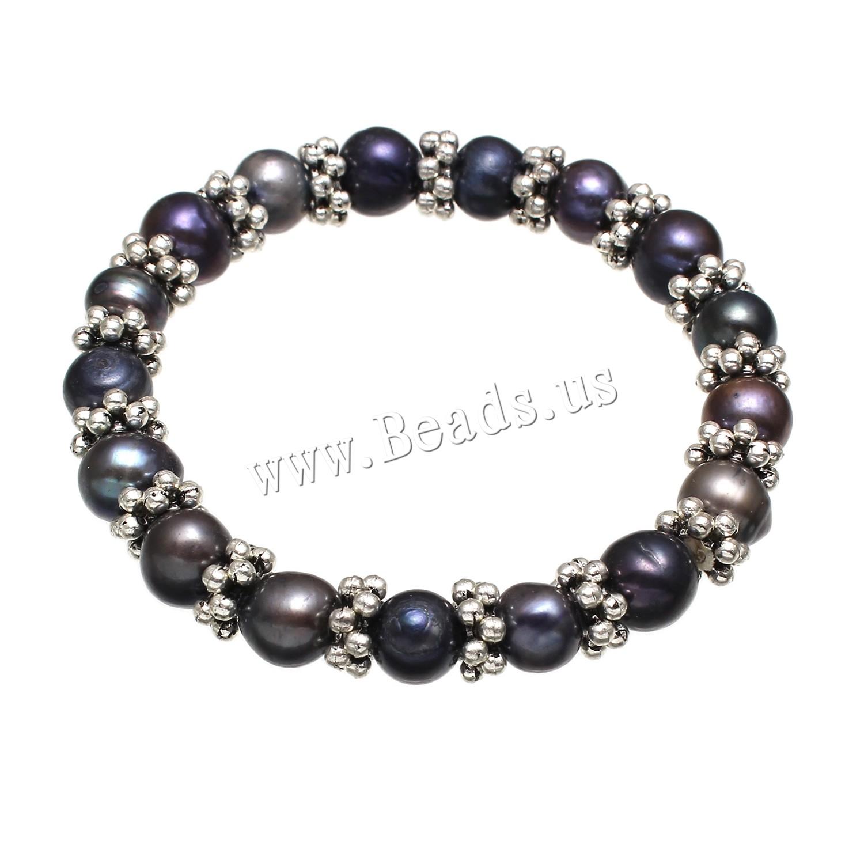 Buy Freshwater Cultured Pearl Bracelet Freshwater Pearl Elastic Thread & Zinc Alloy Potato woman black 8-9mm Sold Per Approx 7 Inch Strand
