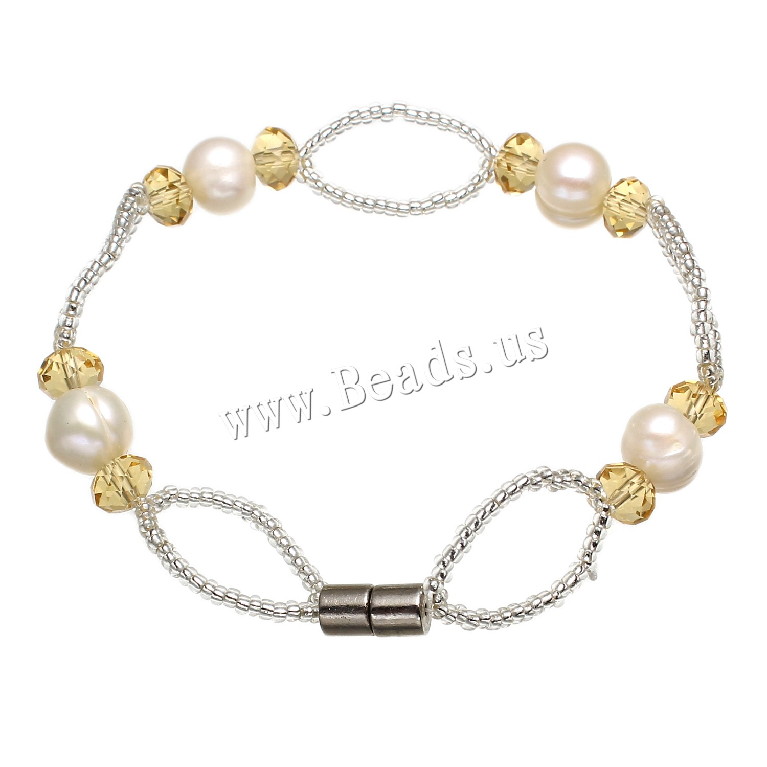 Buy Freshwater Cultured Pearl Bracelet Freshwater Pearl Crystal & Glass Seed Beads Potato woman & faceted white 8-9mm Sold Per Approx 7.5 Inch Strand