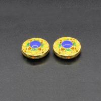 Imitation Cloisonne Zink Legierung Perlen, Zinklegierung, flache Runde, goldfarben plattiert, Emaille, gelb, frei von Blei & Kadmium, 17mm, Bohrung:ca. 1.5mm, 10PCs/Tasche, verkauft von Tasche