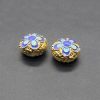 Imitation Cloisonne Zink Legierung Perlen, Zinklegierung, flache Runde, goldfarben plattiert, Emaille, frei von Blei & Kadmium, 14x10mm, Bohrung:ca. 1mm, 10PCs/Tasche, verkauft von Tasche