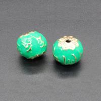 Imitation Cloisonne Zink Legierung Perlen, Zinklegierung, rund, plattiert, Emaille, keine, frei von Blei & Kadmium, 14x13mm, Bohrung:ca. 1.5mm, 10PCs/Tasche, verkauft von Tasche