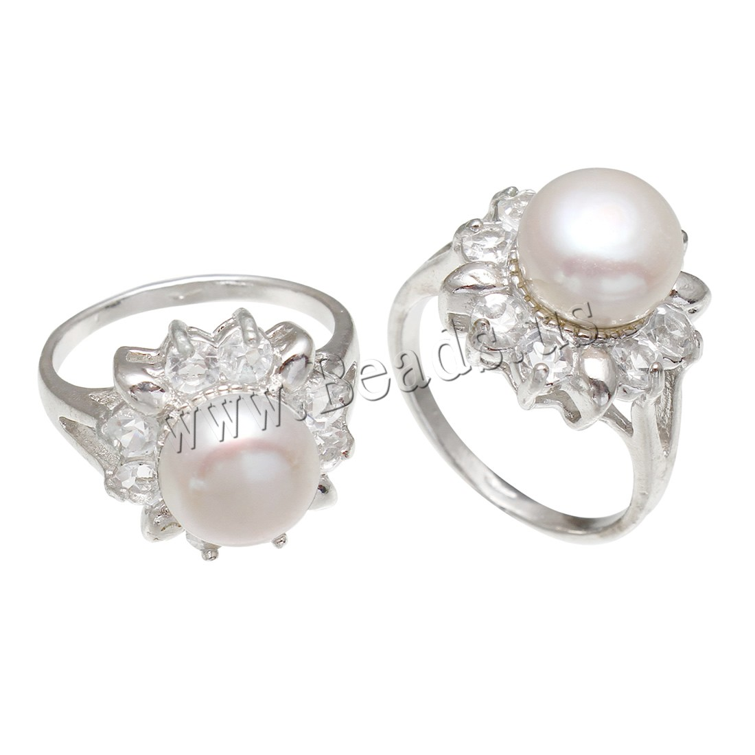 Buy Freshwater Pearl Finger Ring Brass Freshwater Pearl platinum color plated woman & rhinestone white nickel lead & cadmium free 9-10mm US Ring Size:8 Sold PC
