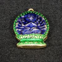 Buddhische Schmuck Anhänger, Messing, Avalokitesvara, goldfarben plattiert, Imitation Cloisonne & buddhistischer Schmuck & Emaille & hohl, frei von Nickel, Blei & Kadmium, 30x20mm, Bohrung:ca. 1.5mm, 10PCs/Tasche, verkauft von Tasche