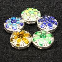 Cloisonne Perlen, Messing, flache Runde, silberfarben plattiert, Imitation Cloisonne & Emaille & hohl, keine, frei von Nickel, Blei & Kadmium, 12mm, Bohrung:ca. 1.5mm, 10PCs/Tasche, verkauft von Tasche