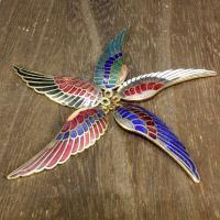 Cloisonné Anhänger, Flügelform, 24 K vergoldet, keine, 45x14mm, Bohrung:ca. 1mm, 10PCs/Tasche, verkauft von Tasche