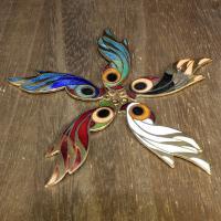 Cloisonné Anhänger, Vogel, 24 K vergoldet, keine, 50x16mm, Bohrung:ca. 1mm, 10PCs/Tasche, verkauft von Tasche