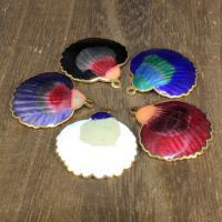 Cloisonné Anhänger, Schale, 24 K vergoldet, keine, 25x25mm, Bohrung:ca. 1mm, 10PCs/Tasche, verkauft von Tasche