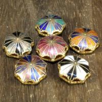Cloisonne Perlen, Cloisonné, Blume, 24 K vergoldet, Mehrloch-, keine, 17mm, Bohrung:ca. 1.5mm, 10PCs/Tasche, verkauft von Tasche