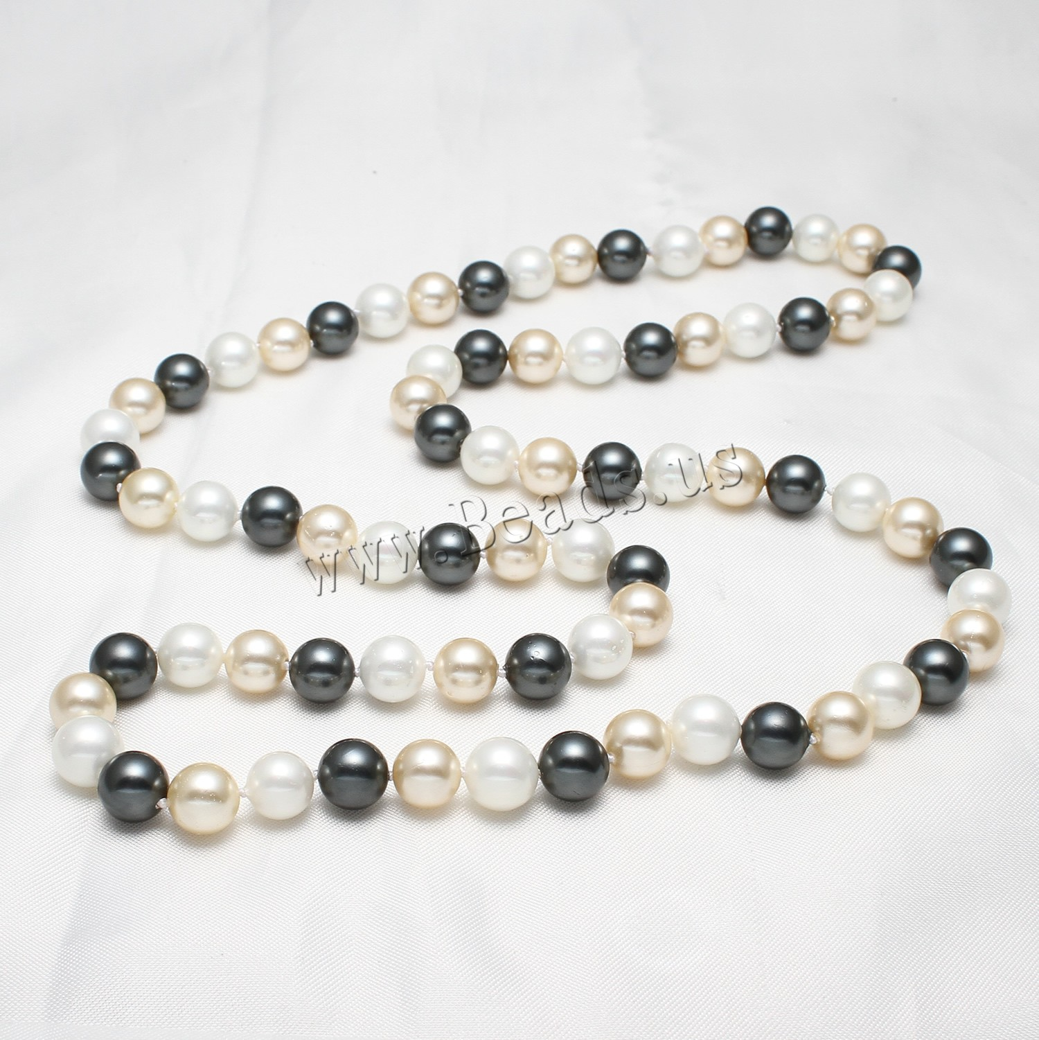 Buy Freshwater Pearl Sweater Chain Necklace South Sea Shell 5cm extender chain Round woman 10mm Sold Per Approx 32 Inch Strand