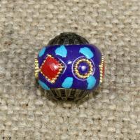 Indonesien Perlen, mit Synthetische Türkis & Messing, rund, keine, 15x15mm, Bohrung:ca. 1-2mm, 10PCs/Tasche, verkauft von Tasche