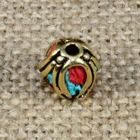 Indonesien Perlen, mit Synthetische Türkis & Messing, Laterne, 12x10mm, Bohrung:ca. 1-2mm, 10PCs/Tasche, verkauft von Tasche