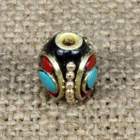 Indonesien Perlen, mit Synthetische Türkis & Messing, oval, 13x10mm, Bohrung:ca. 1-2mm, 10PCs/Tasche, verkauft von Tasche