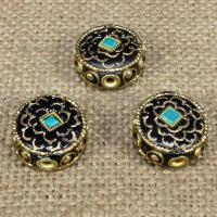Indonesien Perlen, mit Synthetische Türkis & Messing, flache Runde, 16mm, Bohrung:ca. 1-2mm, 10PCs/Tasche, verkauft von Tasche