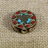 Indonesien Perlen, mit Synthetische Türkis & Messing, flache Runde, 21mm, Bohrung:ca. 1-2mm, 10PCs/Tasche, verkauft von Tasche