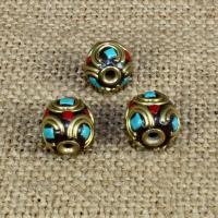 Indonesien Perlen, mit Synthetische Türkis & Messing, rund, 10x10mm, Bohrung:ca. 1-2mm, 10PCs/Tasche, verkauft von Tasche