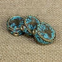 Indonesien Perlen, mit Synthetische Türkis & Messing, flache Runde, 18x18mm, Bohrung:ca. 1-2mm, 10PCs/Tasche, verkauft von Tasche