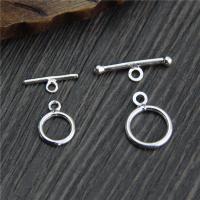 Sterling Silber Knebelverschluss, 925 Sterling Silber, verschiedene Größen vorhanden, Bohrung:ca. 1mm, 10SetsSatz/Menge, verkauft von Menge