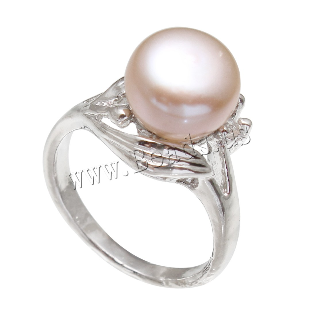 Buy Freshwater Pearl Finger Ring Brass Freshwater Pearl Flower platinum color plated woman & rhinestone purple nickel lead & cadmium free 8-9mm US Ring Size:8-9 Sold PC