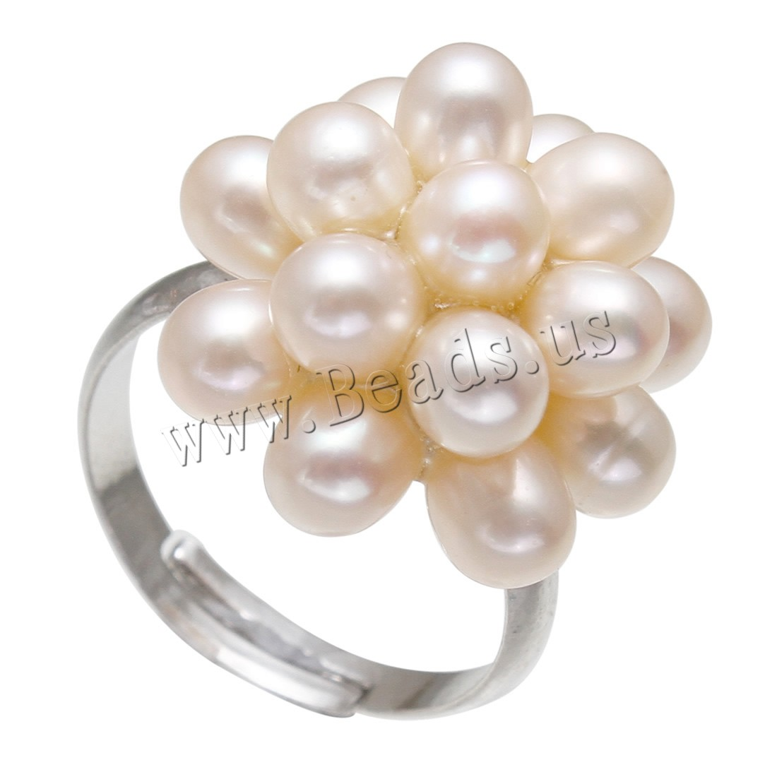 Buy Freshwater Pearl Finger Ring Brass Freshwater Pearl Flower platinum color plated woman pink nickel lead & cadmium free 4-5mmuff0c18-19mm US Ring Size:8 Sold PC