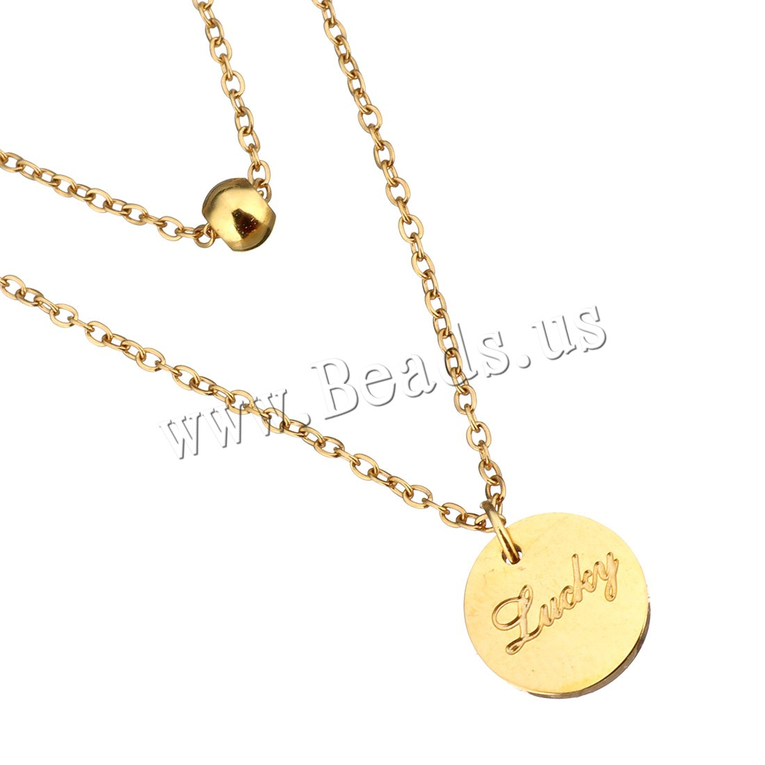 Buy Stainless Steel Jewelry Necklace 2Inch extender chain Flat Round word lucky gold color plated oval chain & woman & 2-strand 9mm 4mm 1mm Sold Per Approx 14 Inch Strand