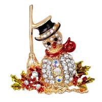 Weihnachten Broschen, Zinklegierung, Schneemann, goldfarben plattiert, Weihnachtsschmuck & für Frau & Emaille & mit Strass, frei von Nickel, Blei & Kadmium, 46x51mm, verkauft von PC