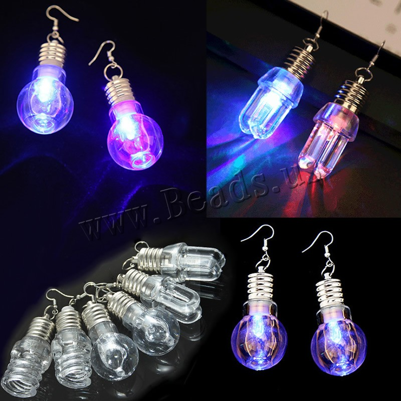 Buy Iron Earring Glass iron earring hook Light Bulb platinum color plated different styles choice & woman & luminated nickel & cadmium free 65x25mm Sold Pair