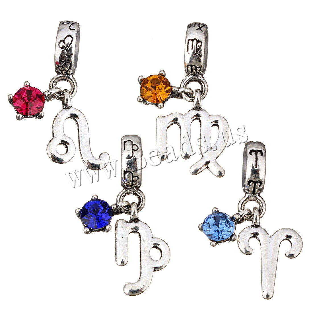 Buy Brass European Pendant Chinese Zodiac platinum plated different styles choice & without troll & cubic zirconia Hole:Approx 5mm 1 Sold Lot