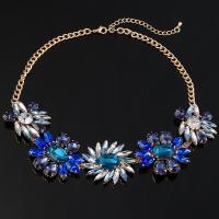 Glasperlen Halsketten, Zinklegierung, mit Glas, goldfarben plattiert, für Frau, frei von Blei & Kadmium, 47mm, verkauft per ca. 17 ZollInch Strang