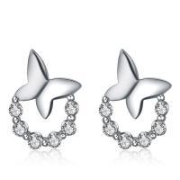 925 Sterling Silber Ohrstecker, Schmetterling, platiniert, Micro pave Zirkonia & für Frau, 7x10mm, verkauft von Paar