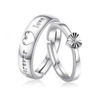 Ehepaar Fingerringe, 925 Sterling Silber, Wort für immer Liebe, platiniert, offen & einstellbar & mit kubischem Zirkonia, Größe:6-10, verkauft von Paar