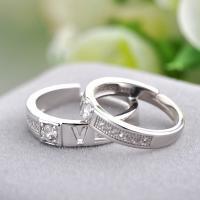 Ehepaar Fingerringe, 925 Sterling Silber, Wort Liebe, platiniert, offen & einstellbar & Micro pave Zirkonia, Größe:6-10, verkauft von Paar