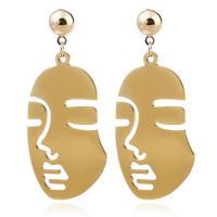 Aluminium Tropfen Ohrring, Edelstahl Stecker, goldfarben plattiert, für Frau, 32x75mm, verkauft von Paar