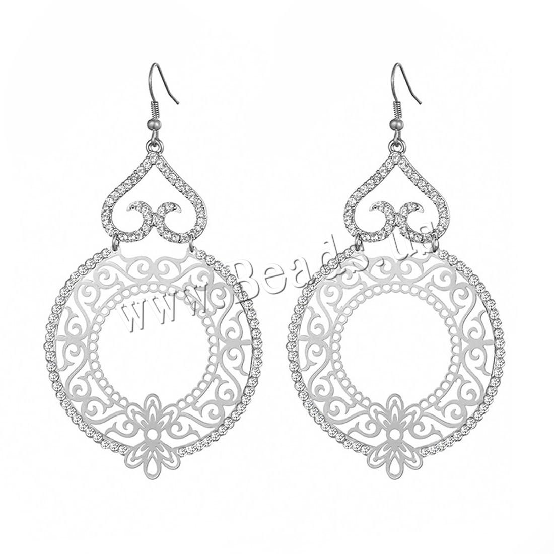 Buy Rhinestone Earring Zinc Alloy iron earring hook platinum color plated woman & rhinestone lead & cadmium free 75mm Sold Pair