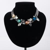 Glasperlen Halsketten, Zinklegierung, mit Glas, metallschwarz plattiert, für Frau & facettierte, keine, frei von Blei & Kadmium, 42mm, verkauft per ca. 16.5 ZollInch Strang