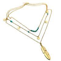 Mode-Multi-Layer-Halskette, Zinklegierung, mit Synthetische Türkis, Blatt, goldfarben plattiert, für Frau & 3-Strang, frei von Nickel, Blei & Kadmium, verkauft per ca. 17.7 ZollInch Strang